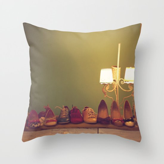 Dancing Shoes and Heels (retro and vintage girly shoes and heels with a lovely lamp) Throw Pillow