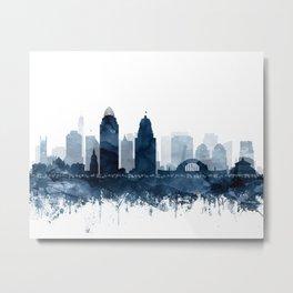 Cincinnati Skyline Blue Watercolor by Zouzounio Art Metal Print