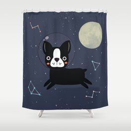 Boston Terrier In Space Shower Curtain