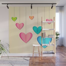 Hangin Hearts Wall Mural