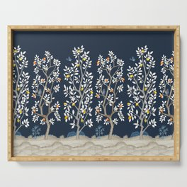 Citrus Grove Chinoiserie Mural - Navy Serving Tray