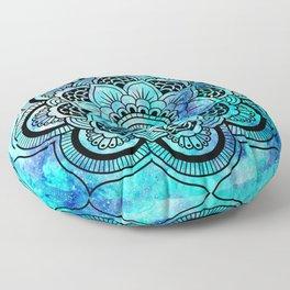 Galaxy Mandala Aqua Indigo Floor Pillow