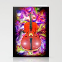 cello Stationery Cards featuring Psychedelic Cello by JT Digital Art