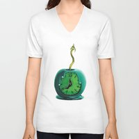haunted mansion V-neck T-shirts featuring Haunted Mansion 13th Hour Clock Apple by ArtisticAtrocities