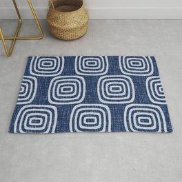 Mid Century Modern Mudcloth Concentric Pattern 762 Indigo Blue Rug