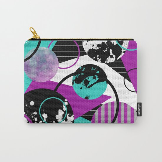 Eclectic Geometric (Abstract blue, purple, black, white) Carry-All Pouch