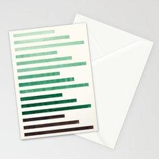 Deep Green Aquamarine Minimalist Mid-century Modern Stripe Pattern Art Staggered Stripes Stationery Cards