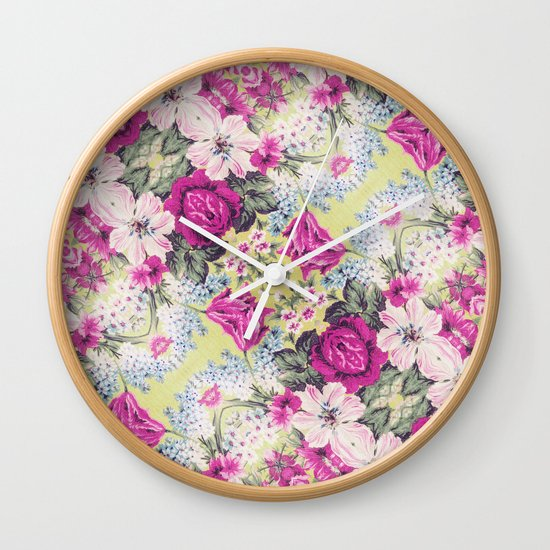 Trendy Vintage Purple Teal Floral Fashion Pattern Wall Clock