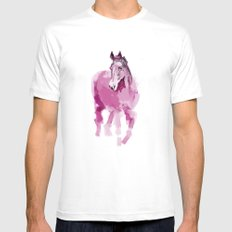 Pink horse White Mens Fitted Tee MEDIUM