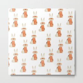 Cute funny hand drawn orange brown vector rabbit pattern Metal Print