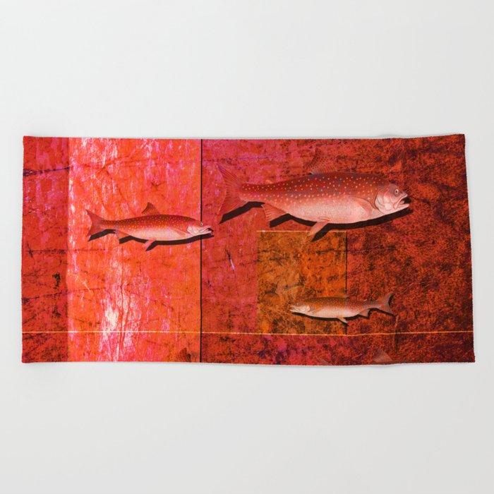 Coral Shadows, Swimming Fish Beach Towel