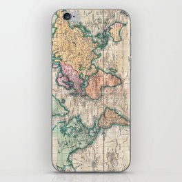 Vintage World Map 1801 iPhone Skin
