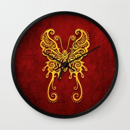 Intricate Red and Yellow Vintage Tribal Butterfly Wall Clock