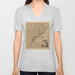Map of South Carolina and Part of Georgia (1780) Unisex V-Neck