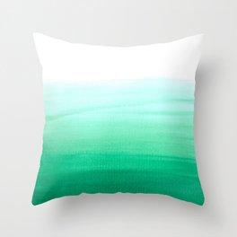 Dip dye pattern in pale aqua Throw Pillow