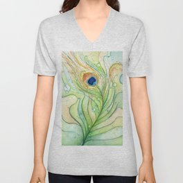 Green Watercolor Peacock Feather and Bubbles Unisex V-Neck