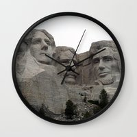 rushmore Wall Clocks featuring Mount Rushmore National Park by Joanne Salazar