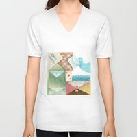 letters V-neck T-shirts featuring Love Letters by INKATURA