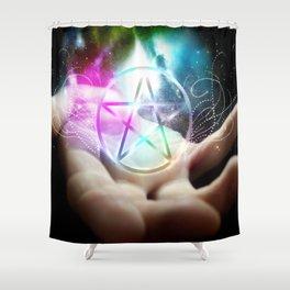 Magickal flaming pentacle Shower Curtain