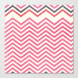 Watercolor pink ivory gray abstract geometric chevron Canvas Print