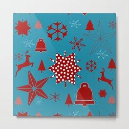 Snow reindeer blue Metal Print
