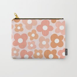 Peachy Pink Flower Power Carry-All Pouch