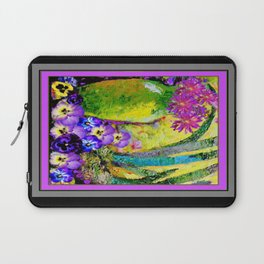 Chartreuse-Violet art Vase Pansies Floral Painting Laptop Sleeve