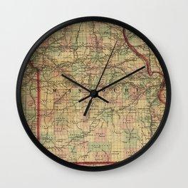 Vintage Missouri Railroad Map (1872) Wall Clock