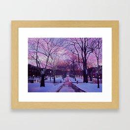 Winter Sunset in Boston Framed Art Print