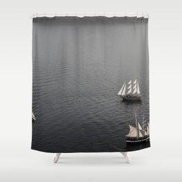 dark sea santorini Shower Curtain