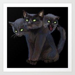 3 HEADED KITTY Art Print
