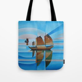 Soft Skies, Cerulean Seas and Cubist Junks Tote Bag