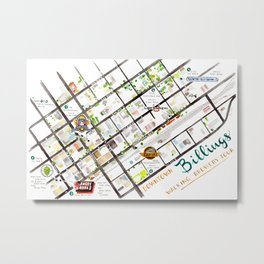 Downtown Billings Brewery Map Metal Print