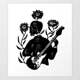 Skeleton Lady Plays the Blues Art Print
