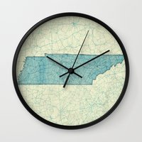tennessee Wall Clocks featuring Tennessee State Map Blue Vintage by City Art Posters