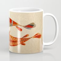 collage Mugs featuring Kolors Koi by Fernando Vieira
