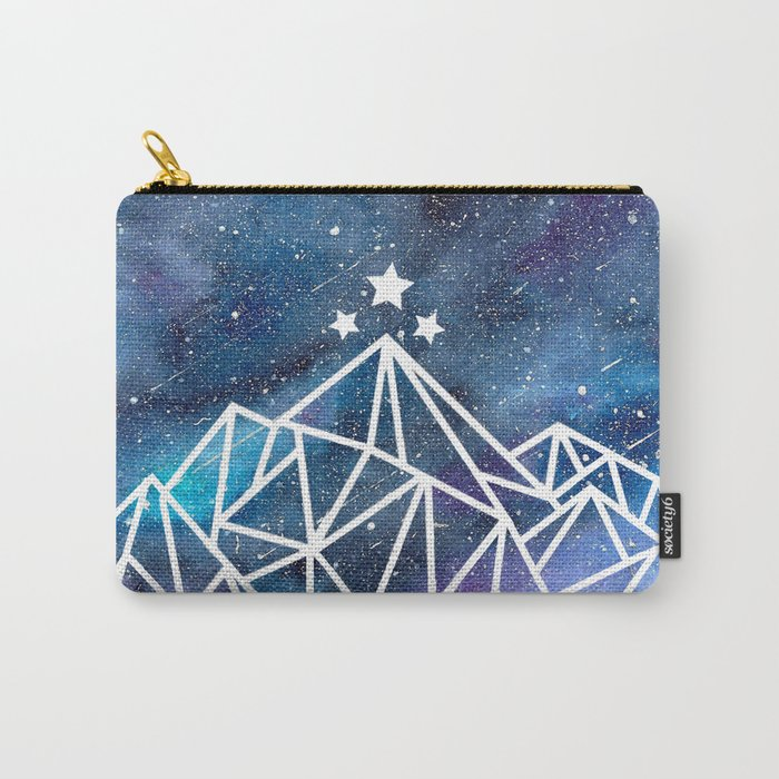 Watercolor Mountains, Galaxy Night  Carry-All Pouch