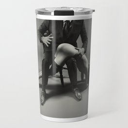 Bare hand Spanking - Naked beautiful woman is spanked with bare hand Travel Mug