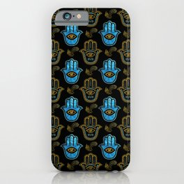 Hamsa Hand pattern - Gold and Blue glass iPhone Case