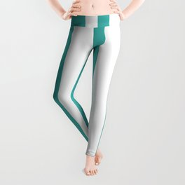 Mixed Vertical Stripes - White and Verdigris Leggings