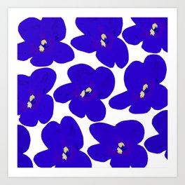 Blue Retro Flowers Art Print