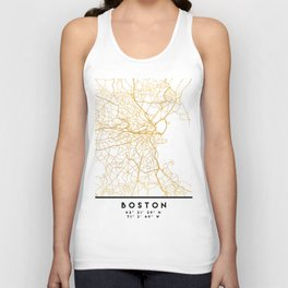 BOSTON MASSACHUSETTS CITY STREET MAP ART Unisex Tank Top