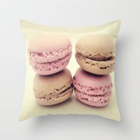macaroons Throw Pillows featuring macaroons by  Alexia Miles photography