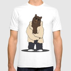 Bear White Mens Fitted Tee MEDIUM