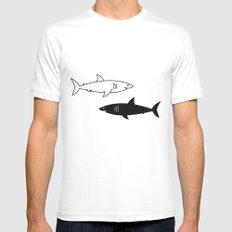 B/W Shark Mens Fitted Tee White MEDIUM
