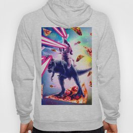Laser Eyes Space Cat Riding Dog And Dinosaur Hoody