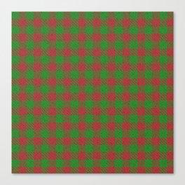 Accident, Medium Carmine on Forest Green Ungulate Plaid Canvas Print