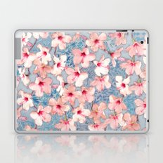 Shabby Chic Hibiscus Patchwork Pattern in Pink & Blue Laptop & iPad Skin