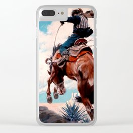 """Vintage Western Painting """"Bucking"""" by N C Wyeth Clear iPhone Case"""