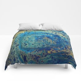 Blue and Gold Spiral Art Comforters